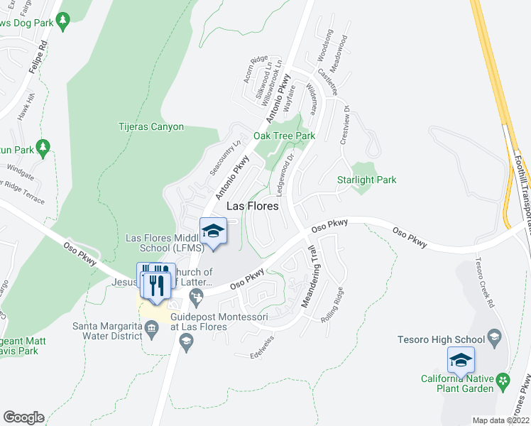 map of restaurants, bars, coffee shops, grocery stores, and more near 79 Sunnydale Lane in Rancho Santa Margarita