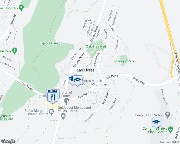 map of restaurants, bars, coffee shops, grocery stores, and more near 81 Sunnydale Lane in Rancho Santa Margarita