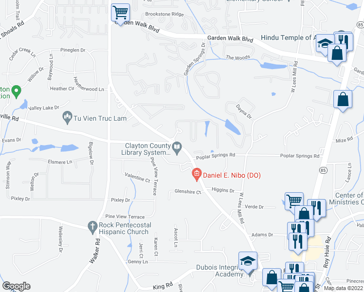 map of restaurants, bars, coffee shops, grocery stores, and more near 6114 Riverdale Road in Atlanta