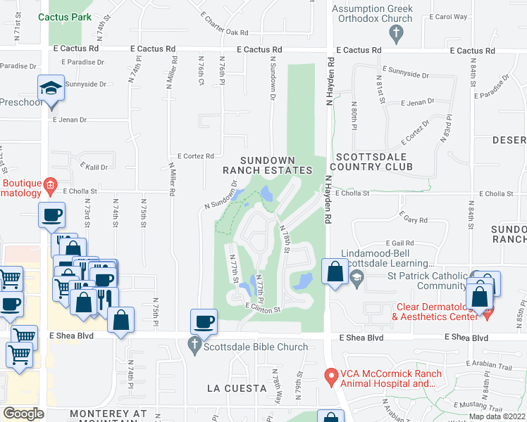 map of restaurants, bars, coffee shops, grocery stores, and more near 11000 North 77th Place in Scottsdale