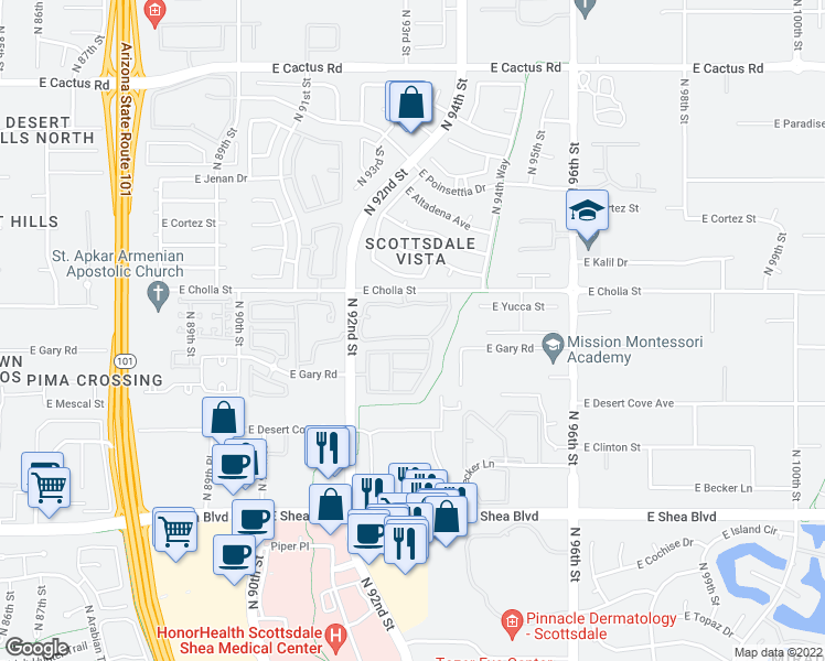 map of restaurants, bars, coffee shops, grocery stores, and more near 11333 North 92nd Street in Scottsdale