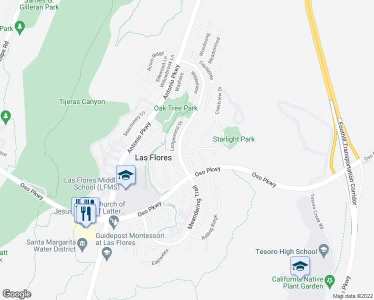 map of restaurants, bars, coffee shops, grocery stores, and more near 82 Sunny Slope in Rancho Santa Margarita