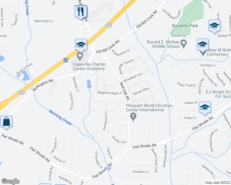 map of restaurants, bars, coffee shops, grocery stores, and more near 545 San Remo Court in College Park