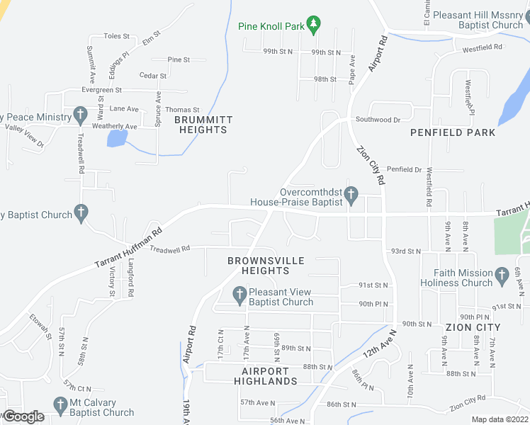 map of restaurants, bars, coffee shops, grocery stores, and more near 1701 Tarrant Huffman Road in Birmingham