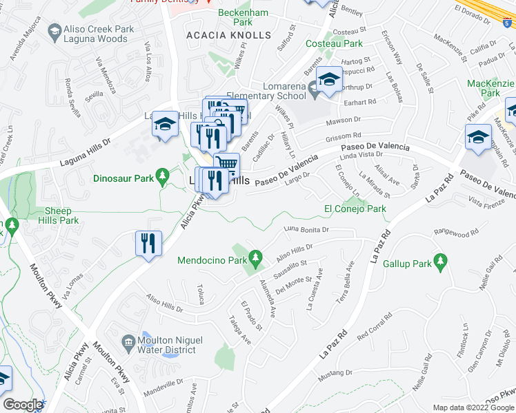 map of restaurants, bars, coffee shops, grocery stores, and more near in Laguna Woods