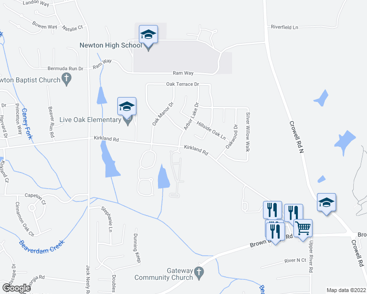 map of restaurants, bars, coffee shops, grocery stores, and more near Arbor Lake Drive in Covington