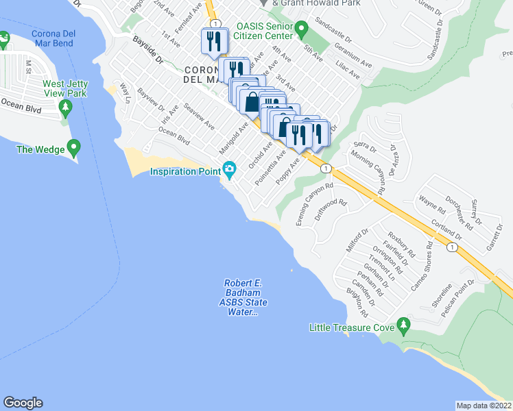 map of restaurants, bars, coffee shops, grocery stores, and more near 3728 Ocean Boulevard in Newport Beach