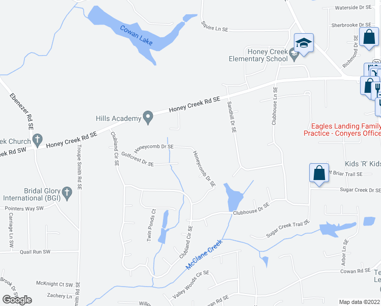 map of restaurants, bars, coffee shops, grocery stores, and more near 3507 Honeycomb Drive Southeast in Conyers