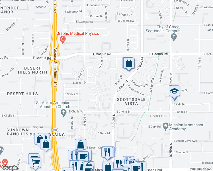 map of restaurants, bars, coffee shops, grocery stores, and more near 9161 East Cortez Street in Scottsdale