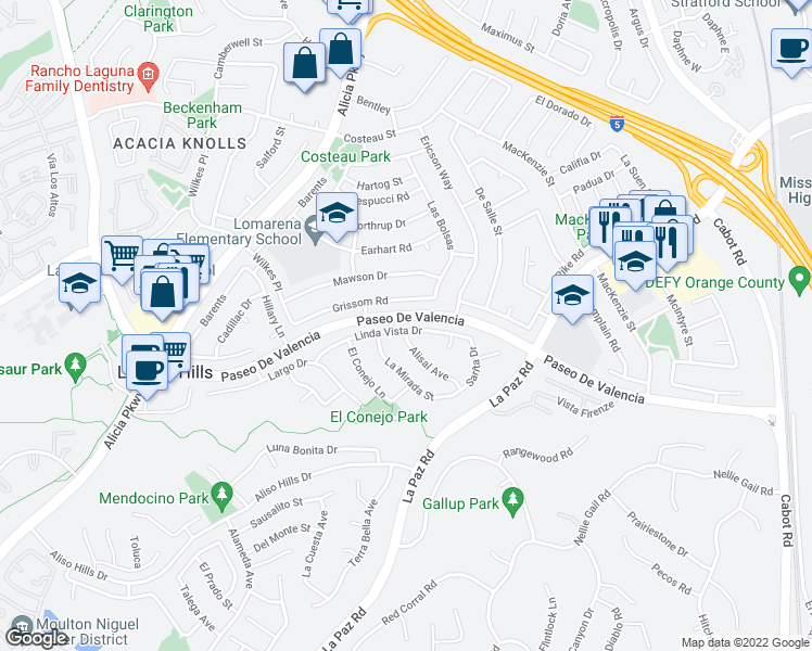 map of restaurants, bars, coffee shops, grocery stores, and more near 25241 Linda Vista Drive in Laguna Hills