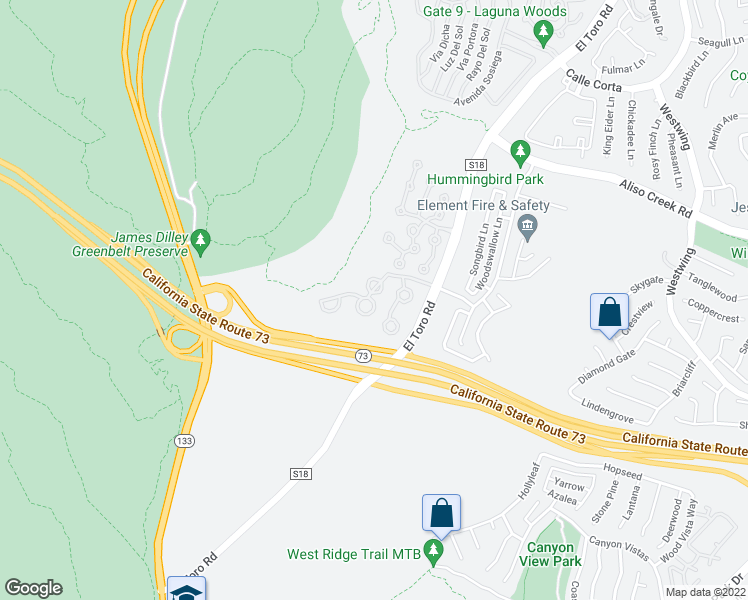 map of restaurants, bars, coffee shops, grocery stores, and more near 350 Artisan Drive in Laguna Beach
