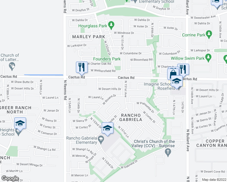 map of restaurants, bars, coffee shops, grocery stores, and more near 15205 West Desert Hills Drive in Surprise