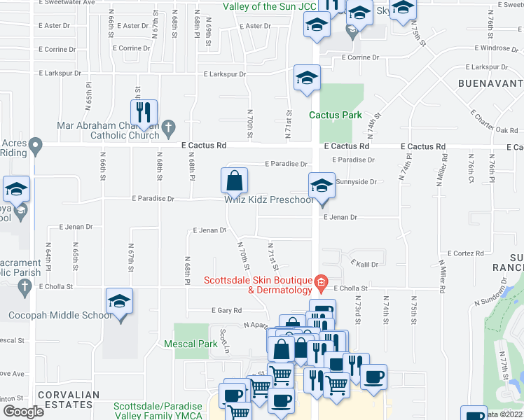 map of restaurants, bars, coffee shops, grocery stores, and more near 7000 East Jenan Drive in Scottsdale