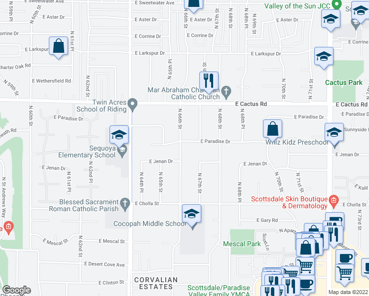 map of restaurants, bars, coffee shops, grocery stores, and more near 6601 East Paradise Drive in Scottsdale