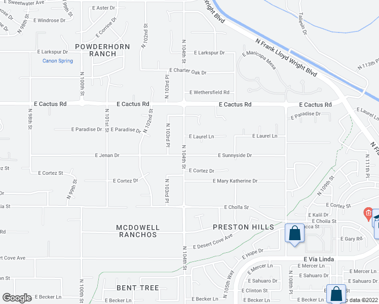 map of restaurants, bars, coffee shops, grocery stores, and more near 10408 East Sunnyside Drive in Scottsdale