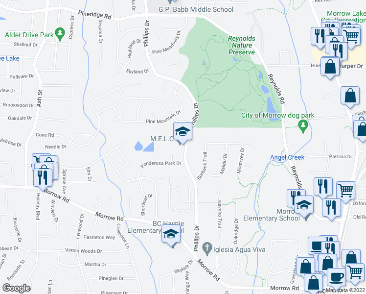 map of restaurants, bars, coffee shops, grocery stores, and more near 5881 Phillips Drive in Forest Park