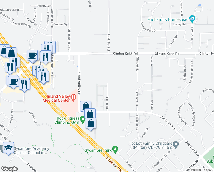 map of restaurants, bars, coffee shops, grocery stores, and more near 36491 Yamas Drive in Wildomar