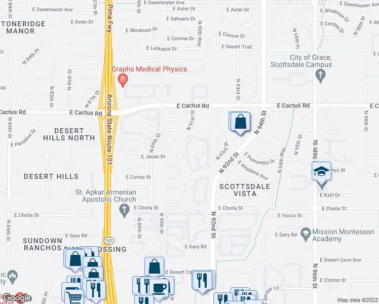 map of restaurants, bars, coffee shops, grocery stores, and more near 11838 North 91st Place in Scottsdale