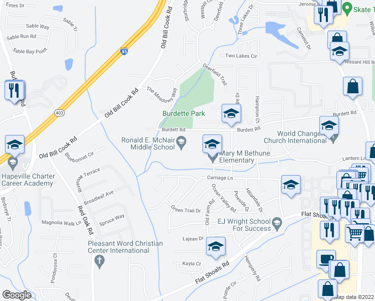 map of restaurants, bars, coffee shops, grocery stores, and more near 2800 Burdett Road in Atlanta