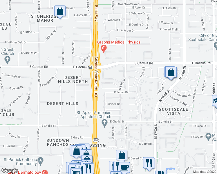 map of restaurants, bars, coffee shops, grocery stores, and more near 8834 East Riviera Drive in Scottsdale
