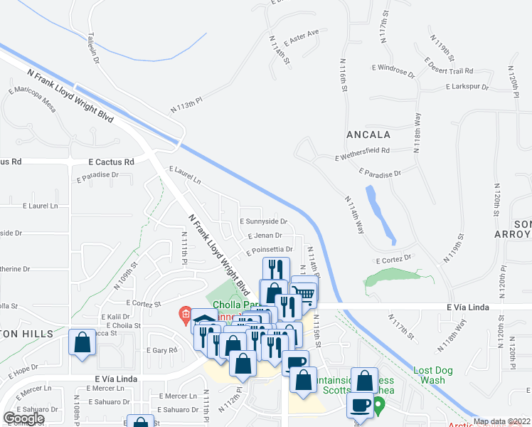 map of restaurants, bars, coffee shops, grocery stores, and more near 11927 North 113th Street in Scottsdale