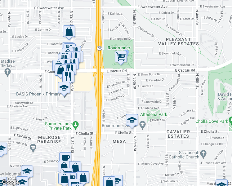 map of restaurants, bars, coffee shops, grocery stores, and more near 3435 East Laurel Lane in Phoenix