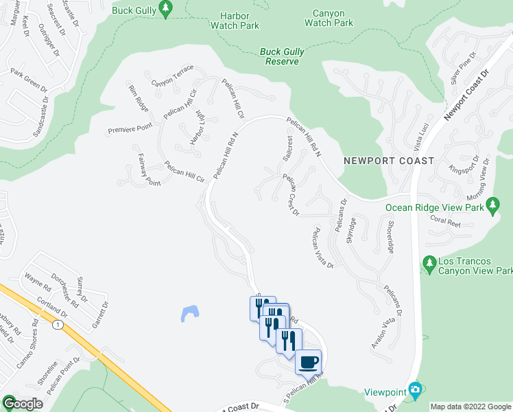 map of restaurants, bars, coffee shops, grocery stores, and more near 1 Pelican Crest Drive in Newport Beach