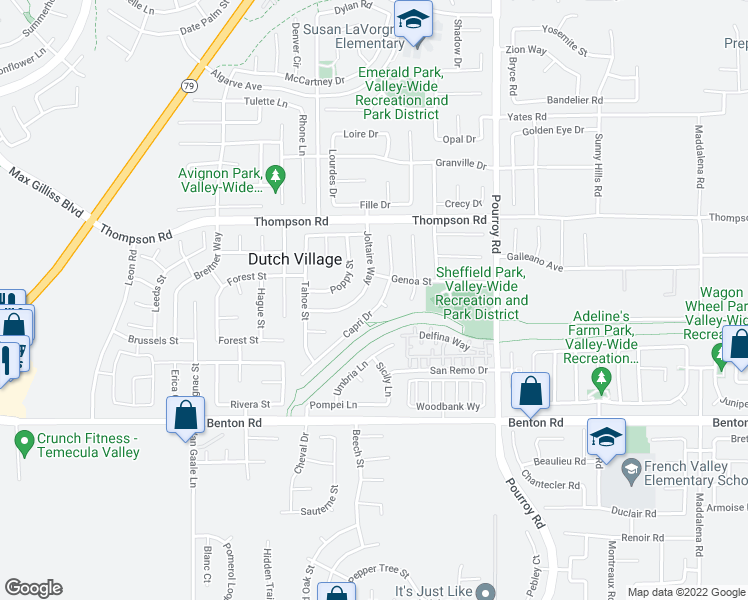 map of restaurants, bars, coffee shops, grocery stores, and more near 36197 Capri Drive in Winchester