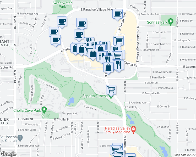 map of restaurants, bars, coffee shops, grocery stores, and more near 4465 East Paradise Village Parkway South in Phoenix