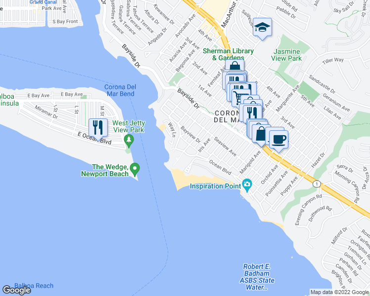 map of restaurants, bars, coffee shops, grocery stores, and more near 2828 Ocean Boulevard in Newport Beach