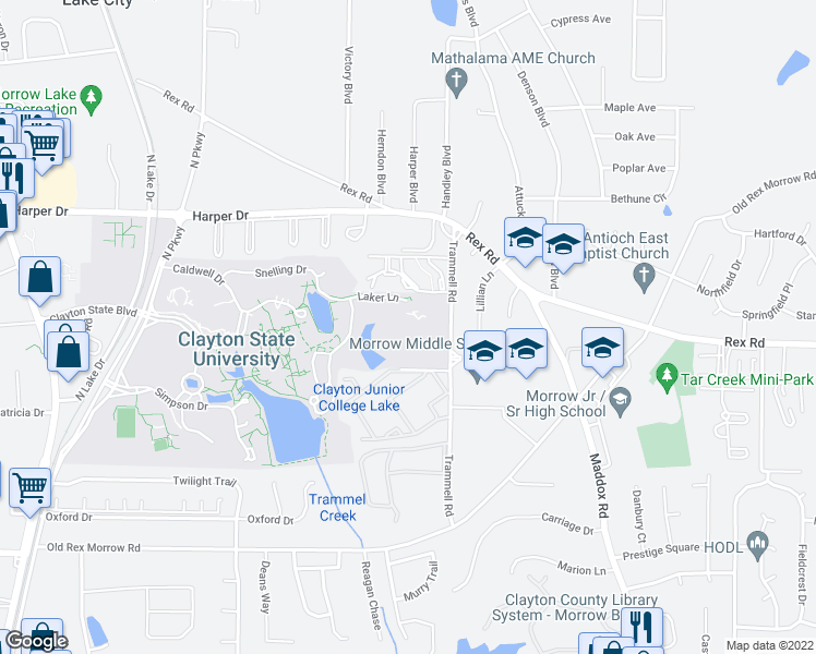 map of restaurants, bars, coffee shops, grocery stores, and more near 5823 Trammell Road in Morrow