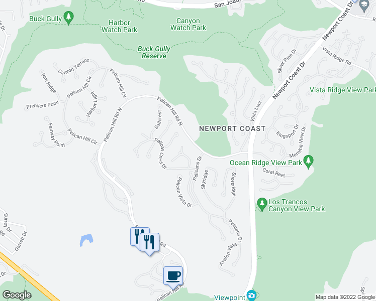 map of restaurants, bars, coffee shops, grocery stores, and more near 9 Skycrest in Newport Coast