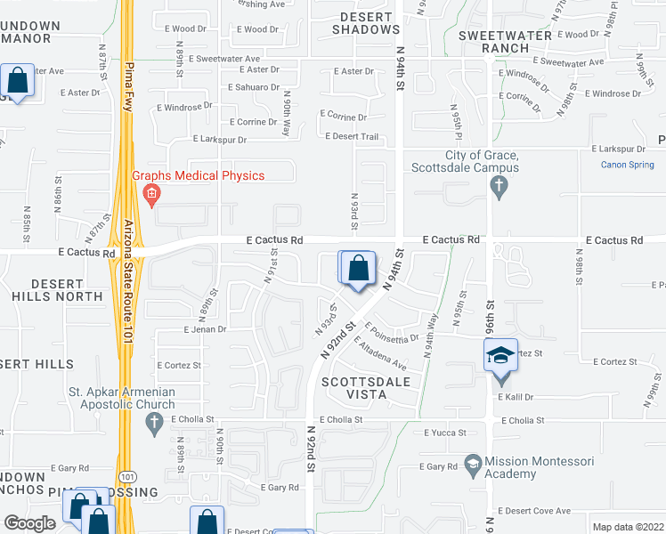 map of restaurants, bars, coffee shops, grocery stores, and more near 9254 East Jenan Drive in Scottsdale