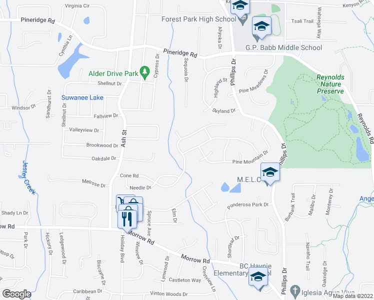 map of restaurants, bars, coffee shops, grocery stores, and more near 965-975 Cone Road in Forest Park