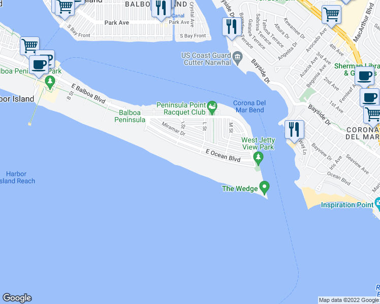 map of restaurants, bars, coffee shops, grocery stores, and more near 1740 East Oceanfront in Newport Beach