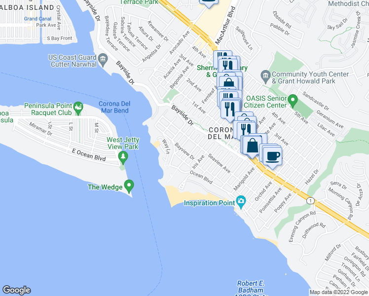 map of restaurants, bars, coffee shops, grocery stores, and more near 222 Goldenrod Avenue in Newport Beach