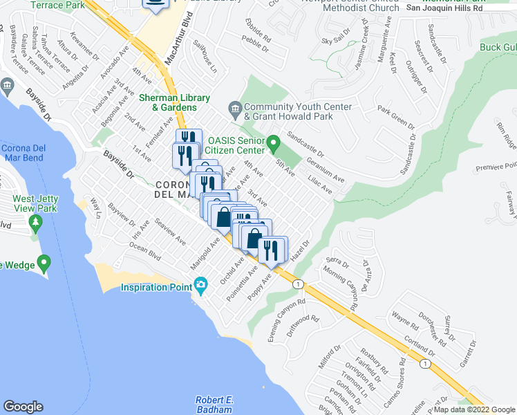 map of restaurants, bars, coffee shops, grocery stores, and more near 515 1/2 Narcissus Avenue in Newport Beach