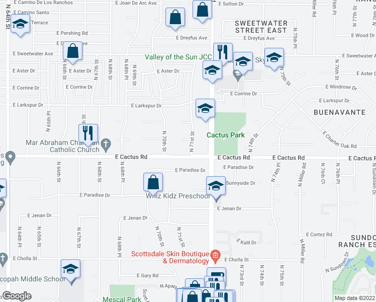 map of restaurants, bars, coffee shops, grocery stores, and more near 12202 North 71st Street in Scottsdale