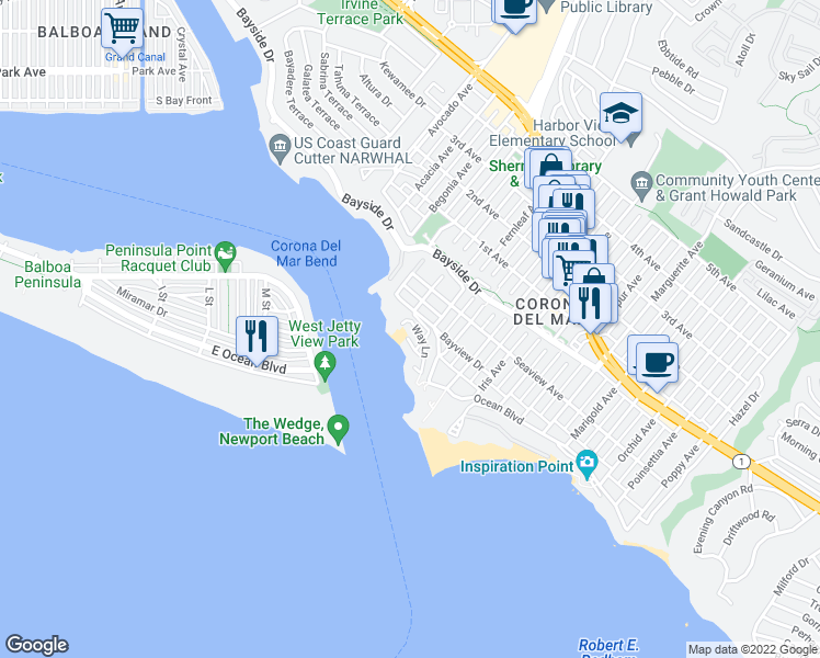 map of restaurants, bars, coffee shops, grocery stores, and more near 2605 Way Lane in Newport Beach