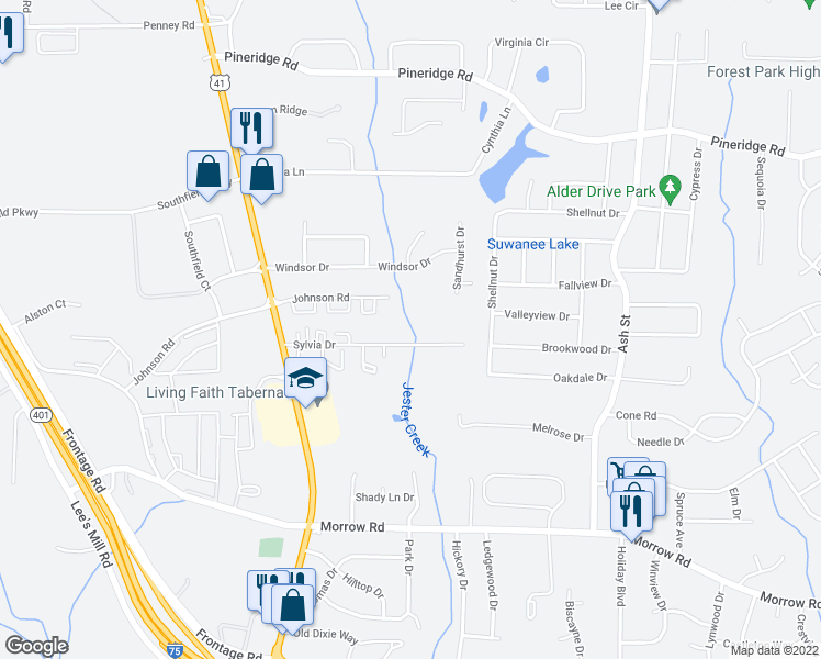 map of restaurants, bars, coffee shops, grocery stores, and more near 392-498 Sylvia Drive in Forest Park