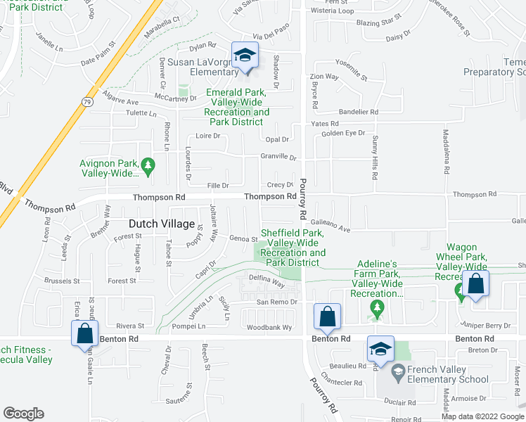 map of restaurants, bars, coffee shops, grocery stores, and more near 31869 Eureka Circle in Winchester