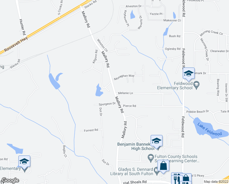 map of restaurants, bars, coffee shops, grocery stores, and more near Mallory Road in South Fulton