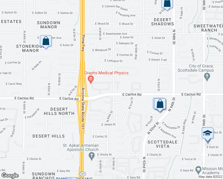 map of restaurants, bars, coffee shops, grocery stores, and more near 12297 North 89th Place in Scottsdale