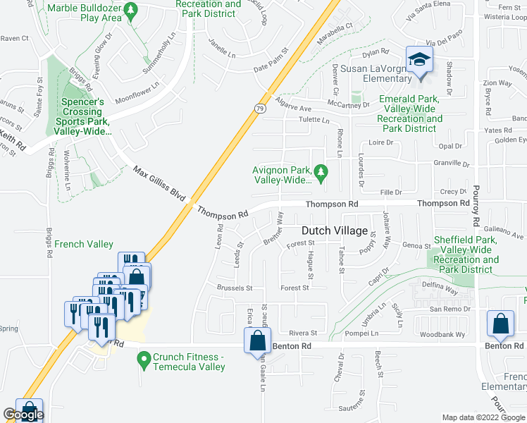 map of restaurants, bars, coffee shops, grocery stores, and more near 36011 Kiel Court in Winchester