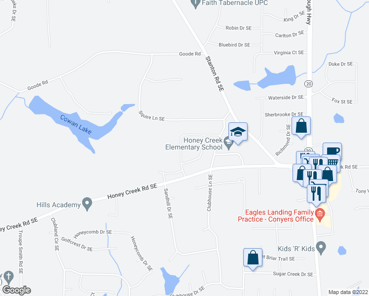 map of restaurants, bars, coffee shops, grocery stores, and more near 3464 Creekwood Drive Southeast in Conyers