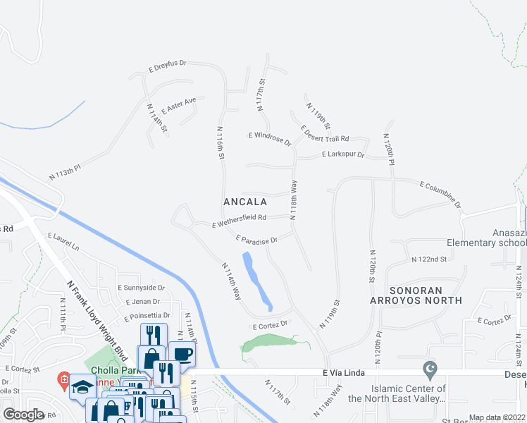map of restaurants, bars, coffee shops, grocery stores, and more near 11698 East Wethersfield Road in Scottsdale