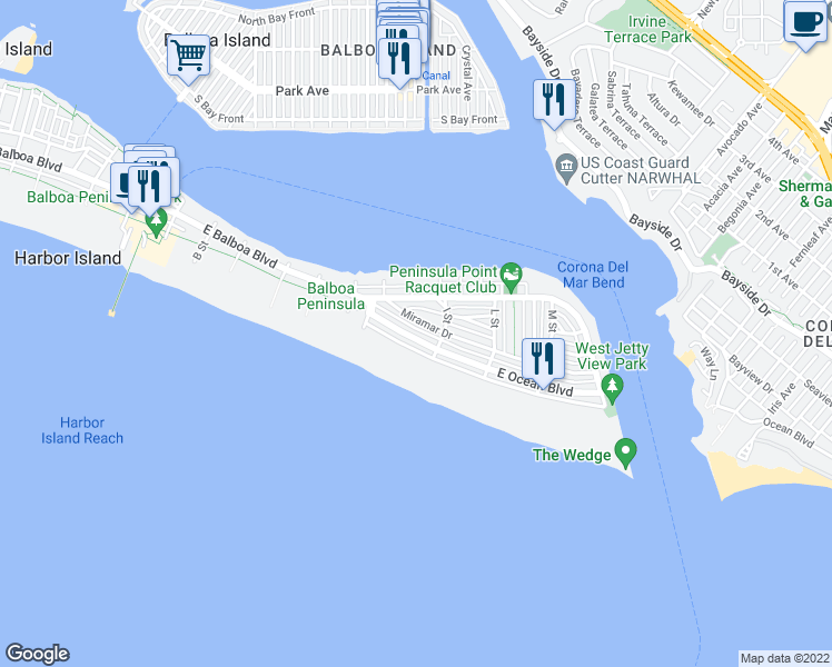 map of restaurants, bars, coffee shops, grocery stores, and more near 1560 East Ocean Boulevard in Newport Beach