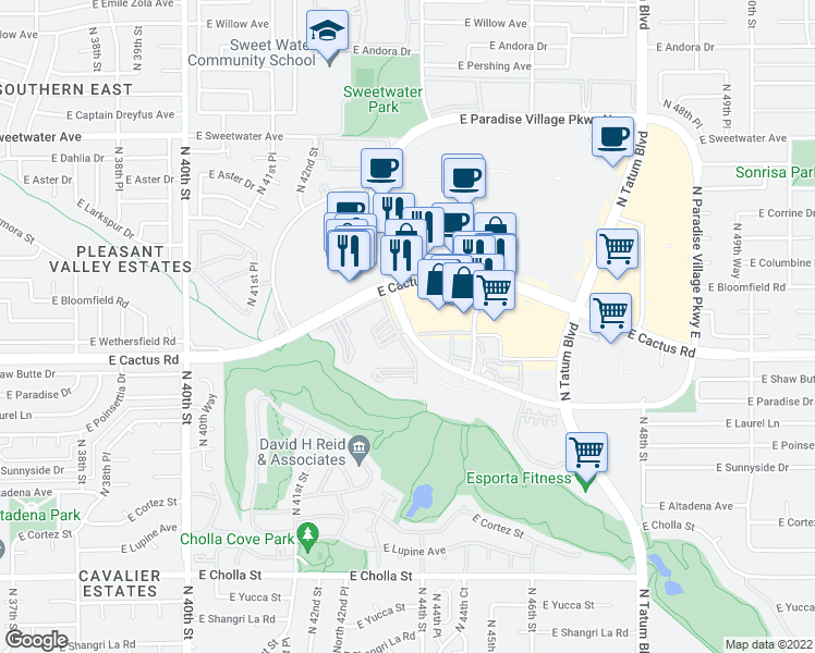 map of restaurants, bars, coffee shops, grocery stores, and more near 12321-12355 North Paradise Village Parkway West in Phoenix