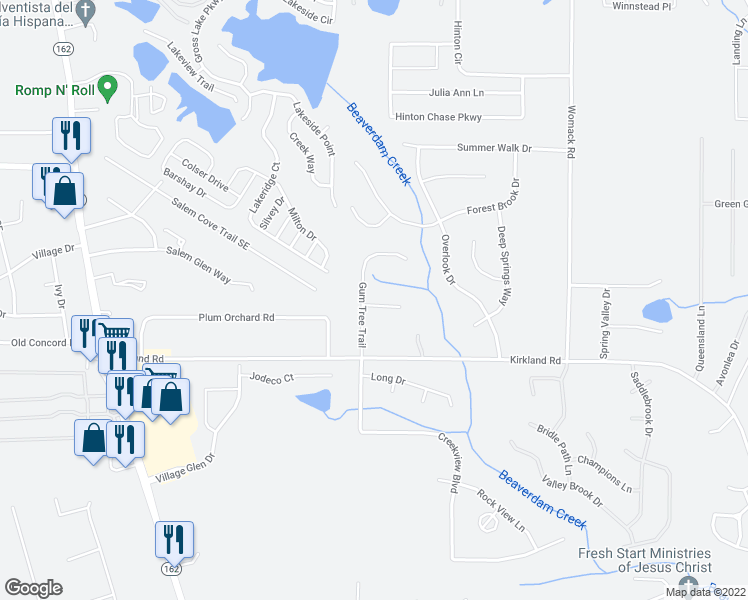 map of restaurants, bars, coffee shops, grocery stores, and more near 78 Gum Tree Trail in Covington
