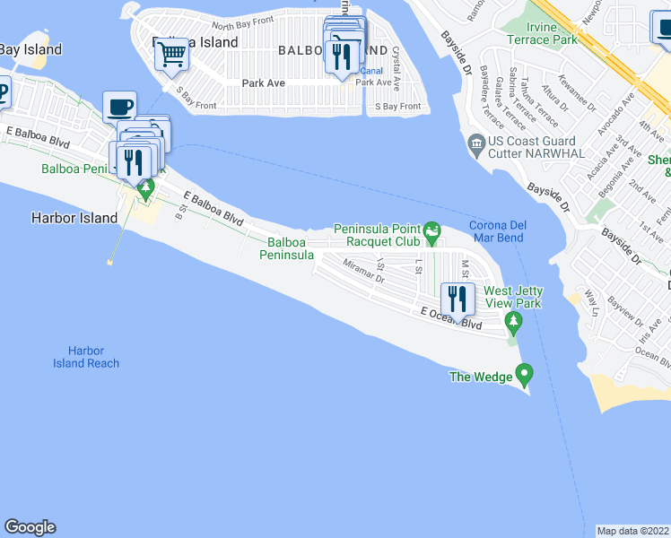 map of restaurants, bars, coffee shops, grocery stores, and more near 1526 East Ocean Boulevard in Newport Beach